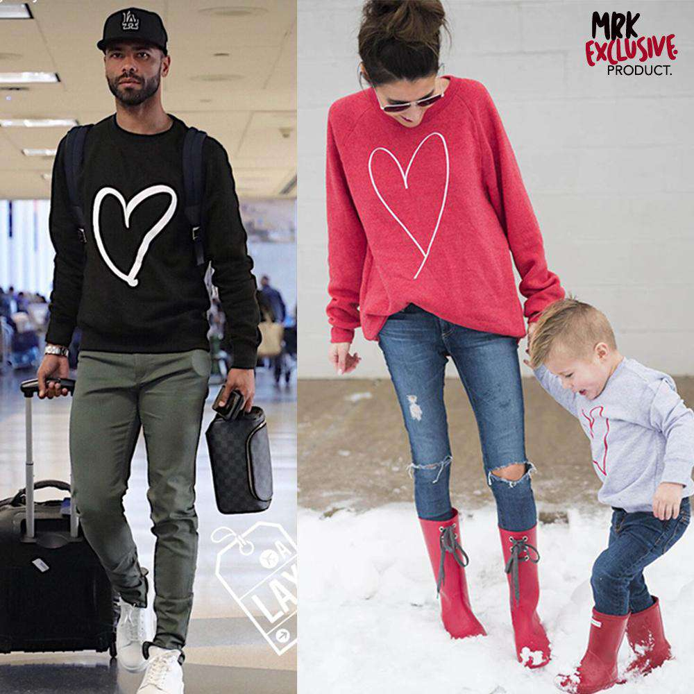 Heart Print Whole Family Matching Sweaters (MRK X)