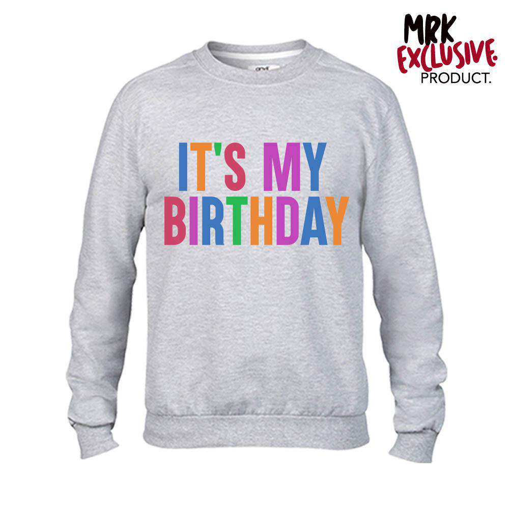 It's My Birthday Adult & Kid Grey Sweaters (MRK X)