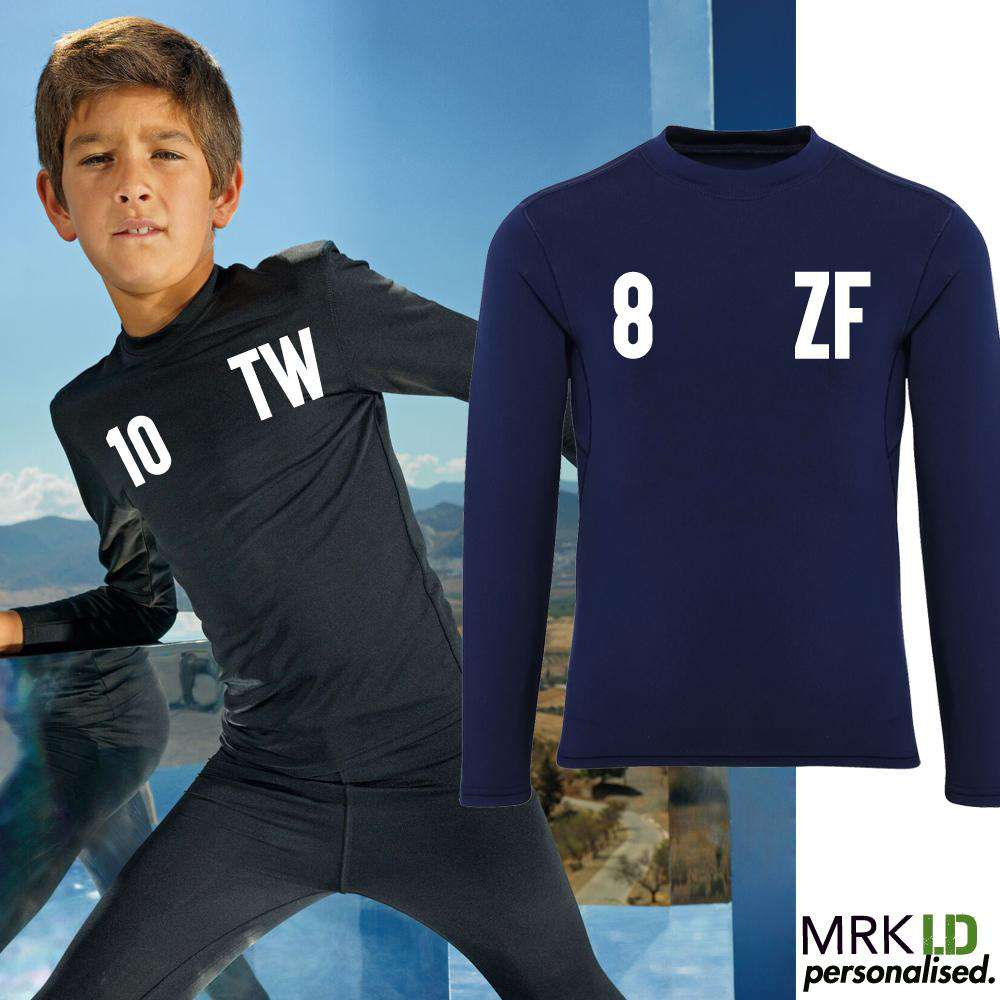 eb18f253fe2 Personalised Initial & Number Baselayer LS Top (MRK X)