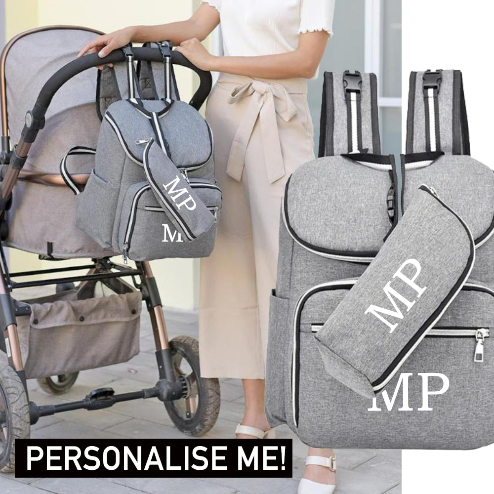 Personalised Mummy Backpack & Accessory Bag Set (MRK X)