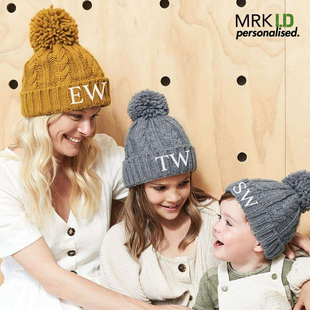 Personalised Initial Cable Knit Pom Beanie (MRK X)