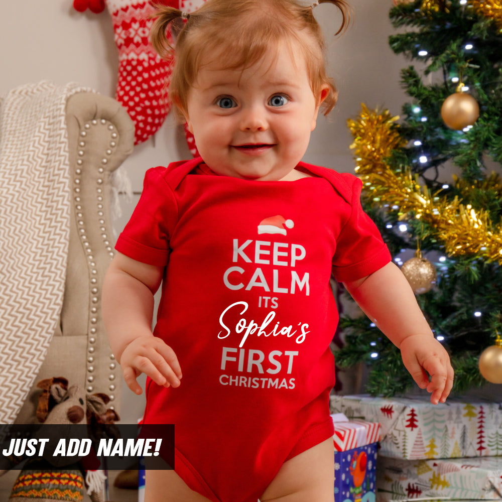 Personalised Keep Calm First Xmas Bodysuit 94 (MRK X)