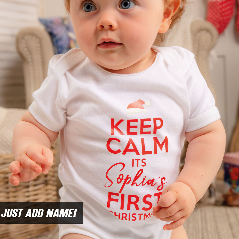 Personalised Keep Calm First Xmas Bodysuit (MRK X)