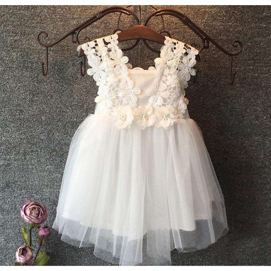 Kentucky Pearl Lace Dress White (1-6 Years)
