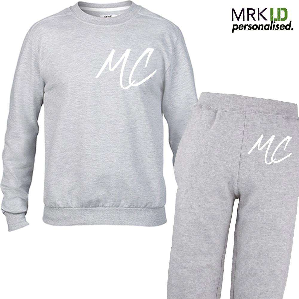 Personalised Graffiti Initial Crew Sweater & Pant Tracksuit Set (5-13 Years) (MRK X)