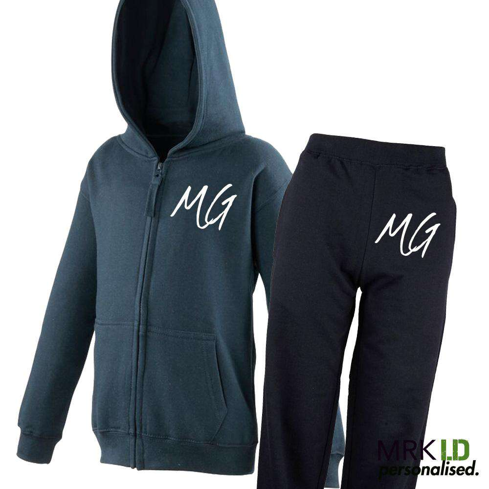 Personalised Script Initial Zipped Hoodie & Pant Tracksuit Set (5-13 Years) (MRK X)