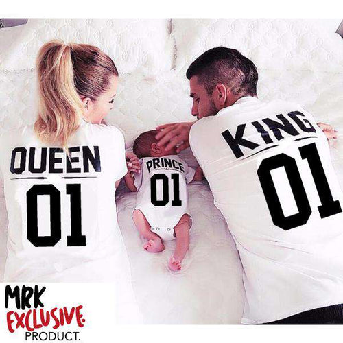 King/Queen/Prince/Princess Family Matching Tee & Rompers - White (MRK X)