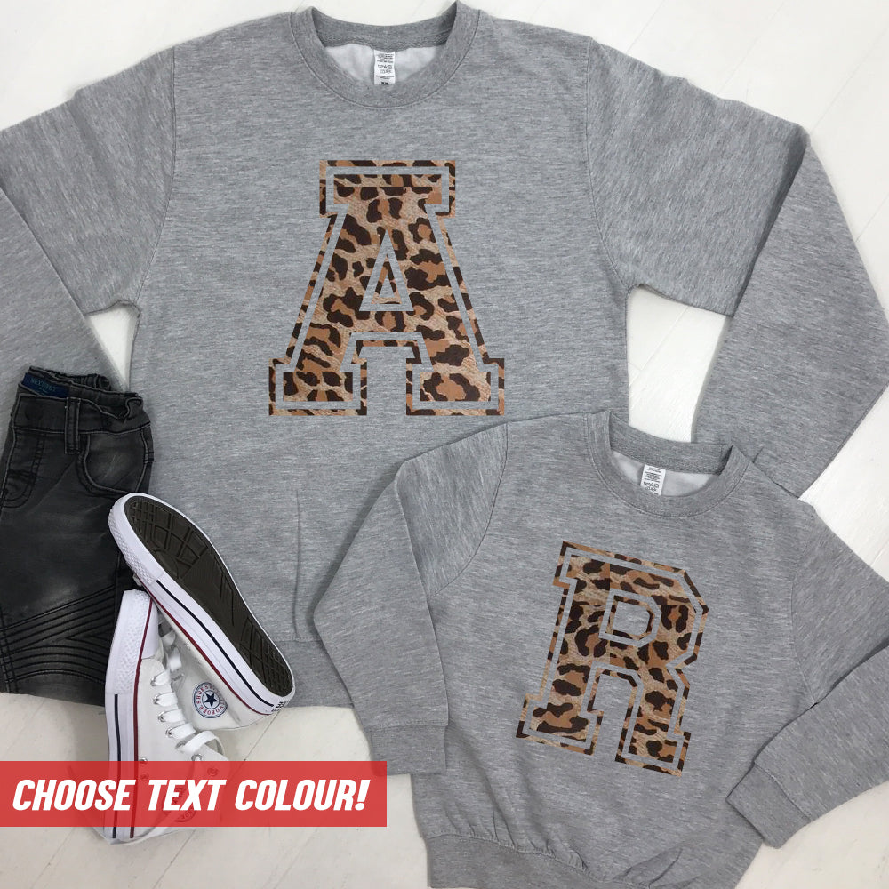 Personalised Adult & Kid Big Initial Matching Sweatshirts Grey (MRK X)