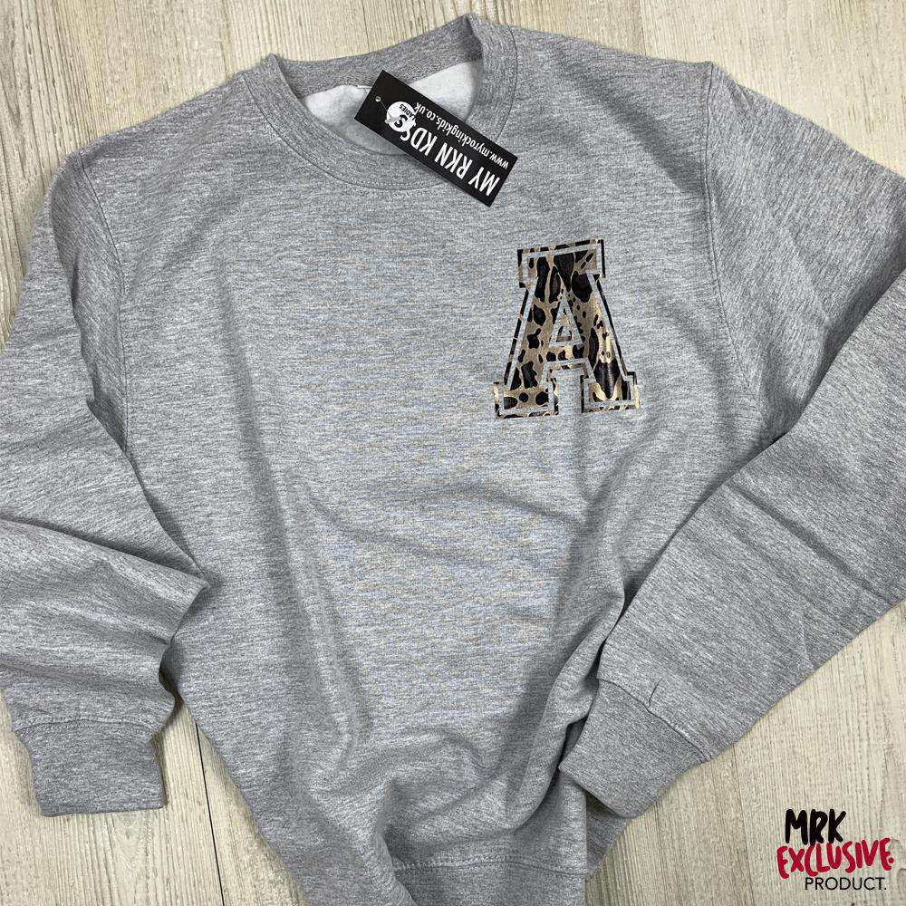 Personalised Adult & Kid Leopard Small Initial Matching Grey Sweaters (MRK X)