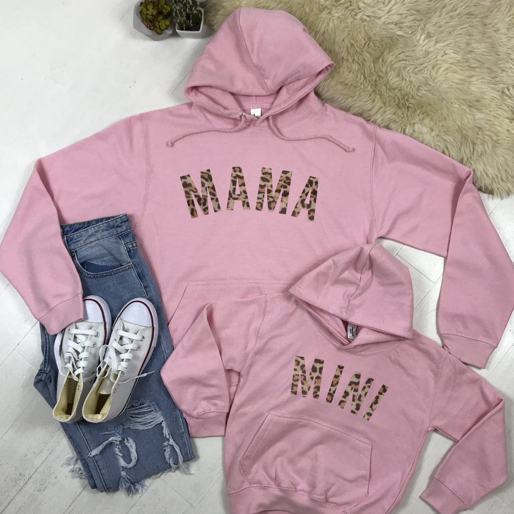 Mama & Mini Leopard Light Pink Matching Hoodies (MRK X)