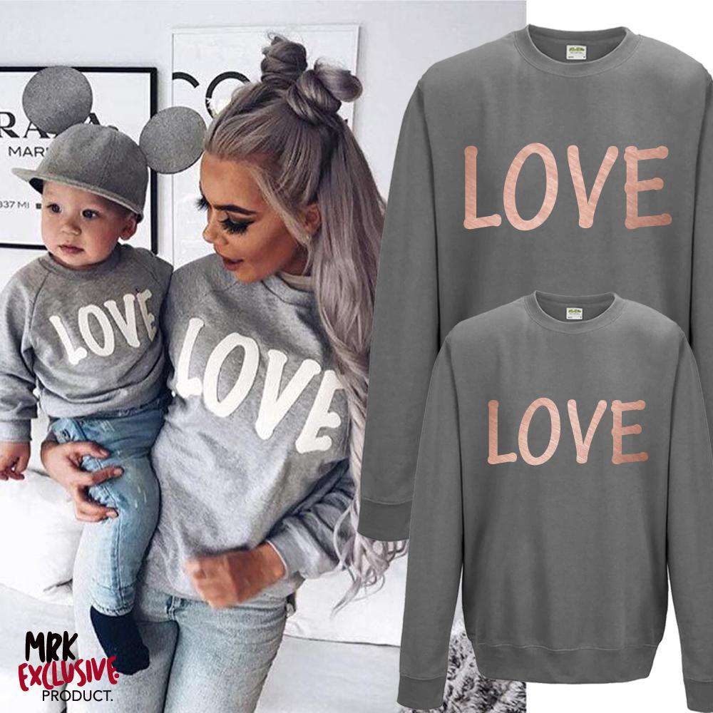 LOVE Family Matching Charcoal/Rose Gold Sweaters (MRK X)