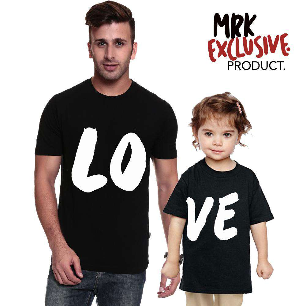LO-VE Kids & Adult Matching Black Crew Tees (MRK X)