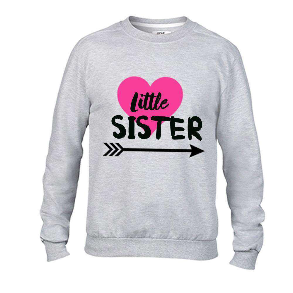 Big Sister/Little Sister Matching Cutey Heart Grey Sweaters (MRK X)