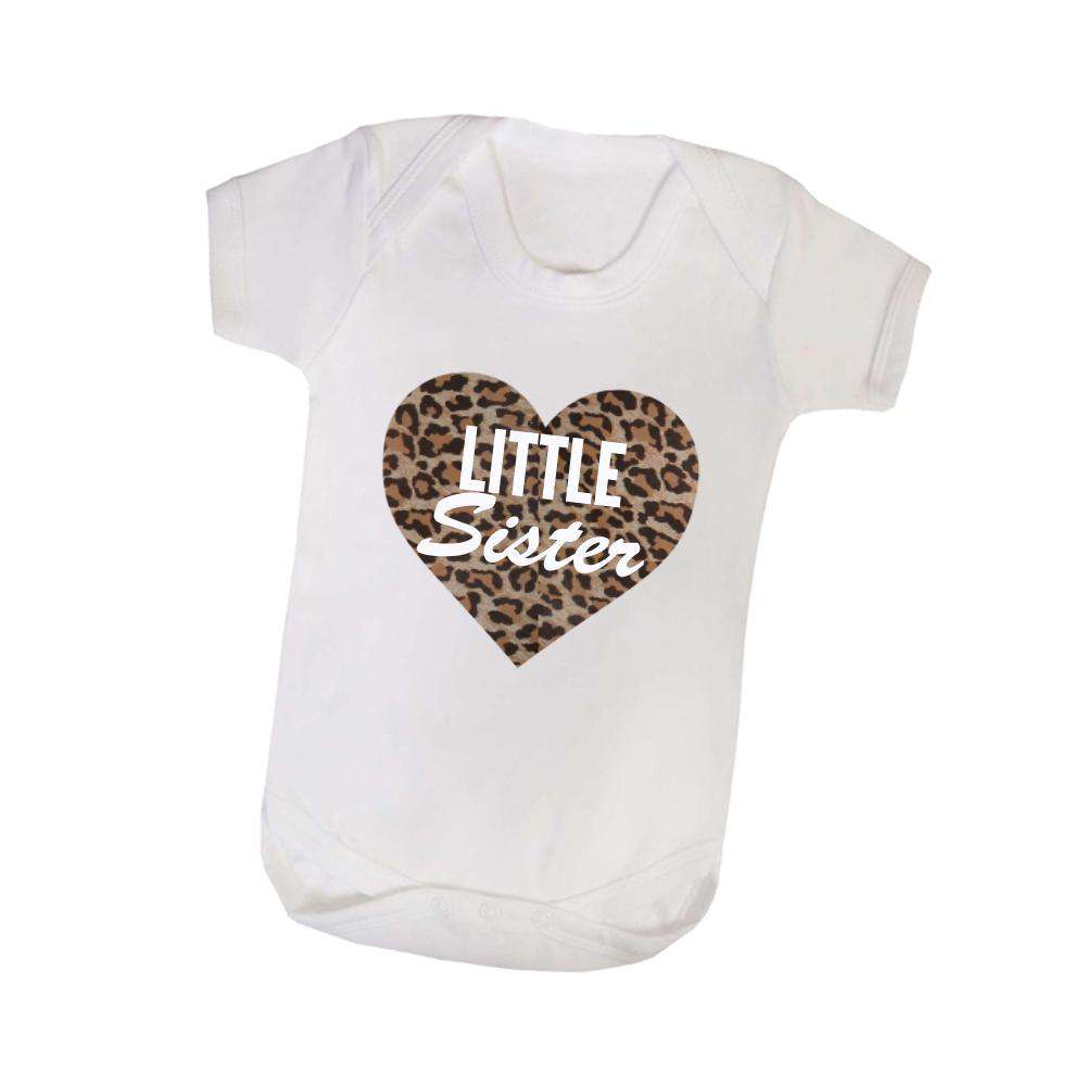Little Sis/Big Sis Leopard Print Heart White Tee & Bodysuit Set (MRK X)