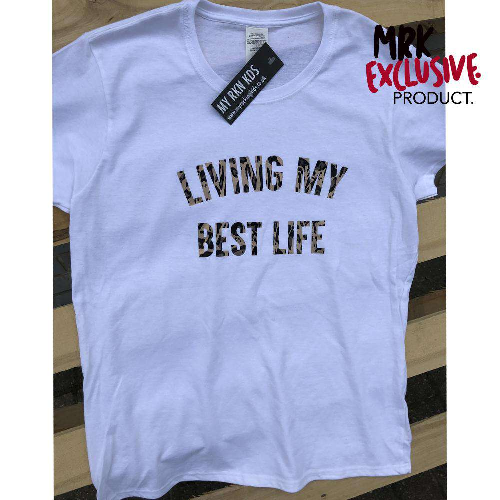 Living Best Life White/Leopard Gold Crew Women's Tee (MRK X)