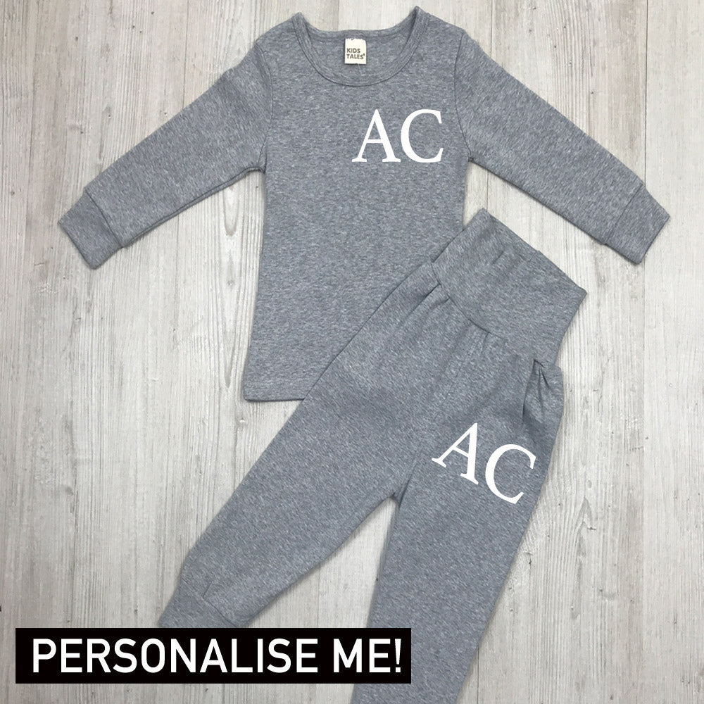 Personalised Initial Hoodie Kids Personalised Tracksuit Grey 2-3 Top