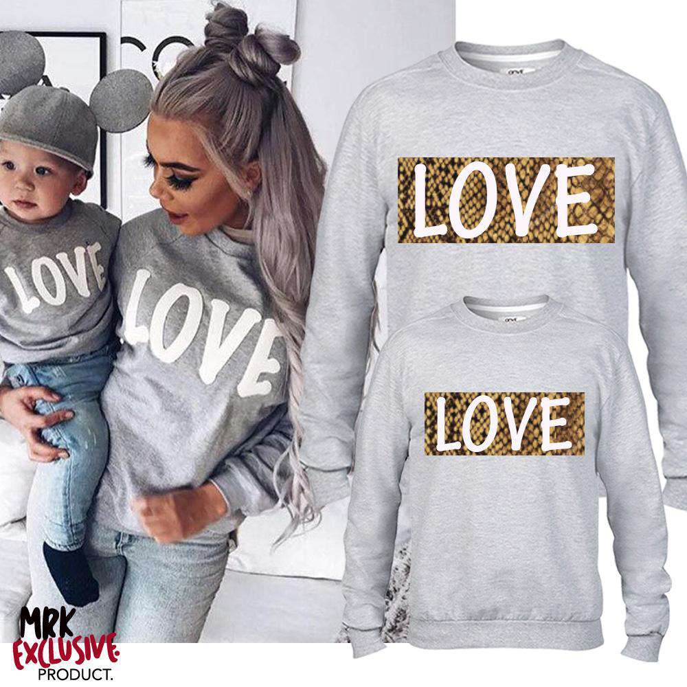 LOVE Family Matching Grey Snakeskin Block Sweaters (MRK X)