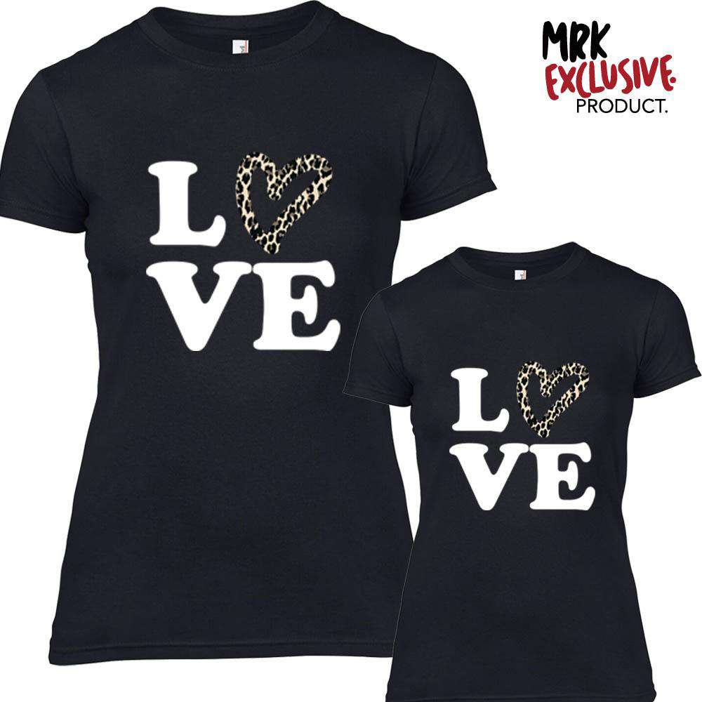 Leopard LOVE Black Matching Adult & Kid Tees (MRK X)