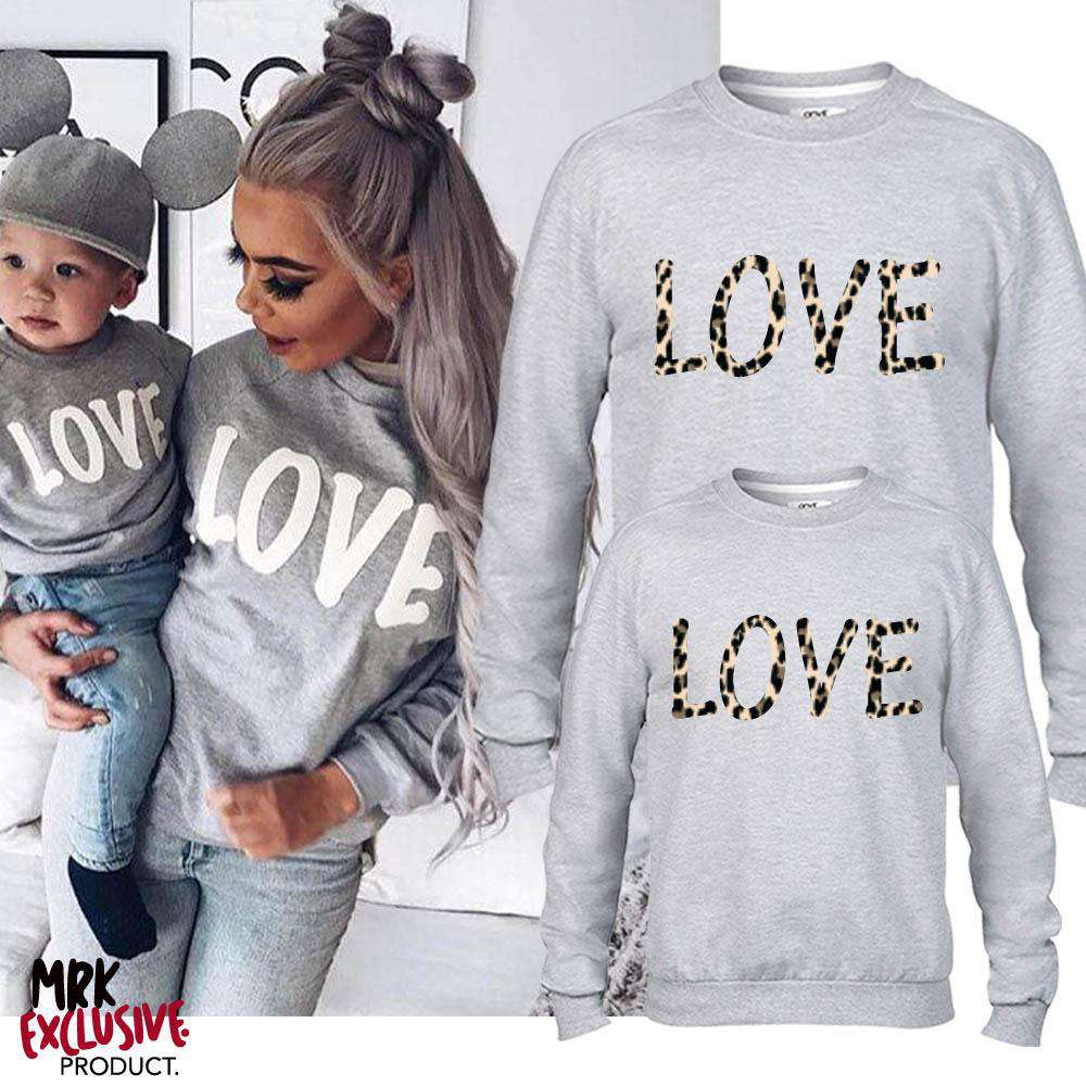 LOVE Family Matching Grey Leopard Sweater (MRK X)