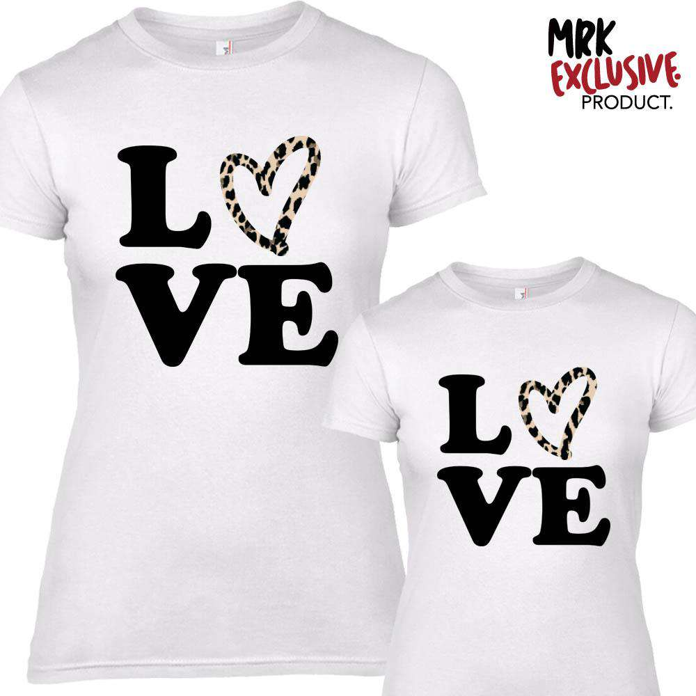 Leopard LOVE White Matching Adult & Kid Tees (MRK X)
