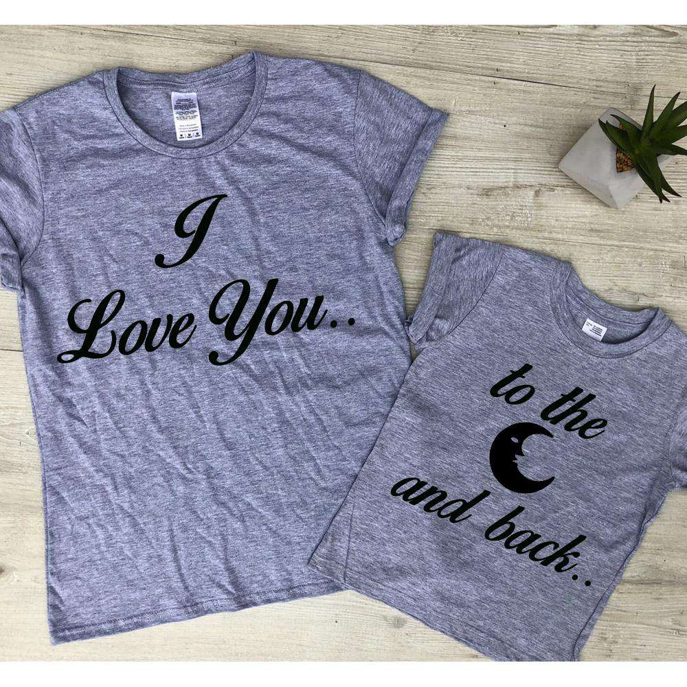 Love You To The Moon (and back..) Matching Mum & Kid Grey Tees (MRK X)