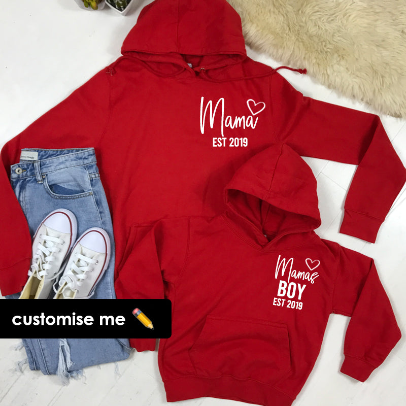 Personalised Mama & Boy Heart Established Matching Red Hoodies (MRK X)