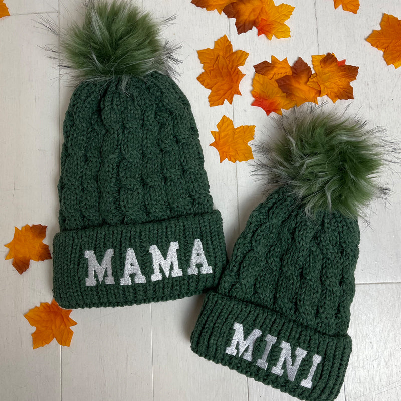 Mama & Mini Matching Cable Knit Pom Beanie Hats Forest Green (MRK X)