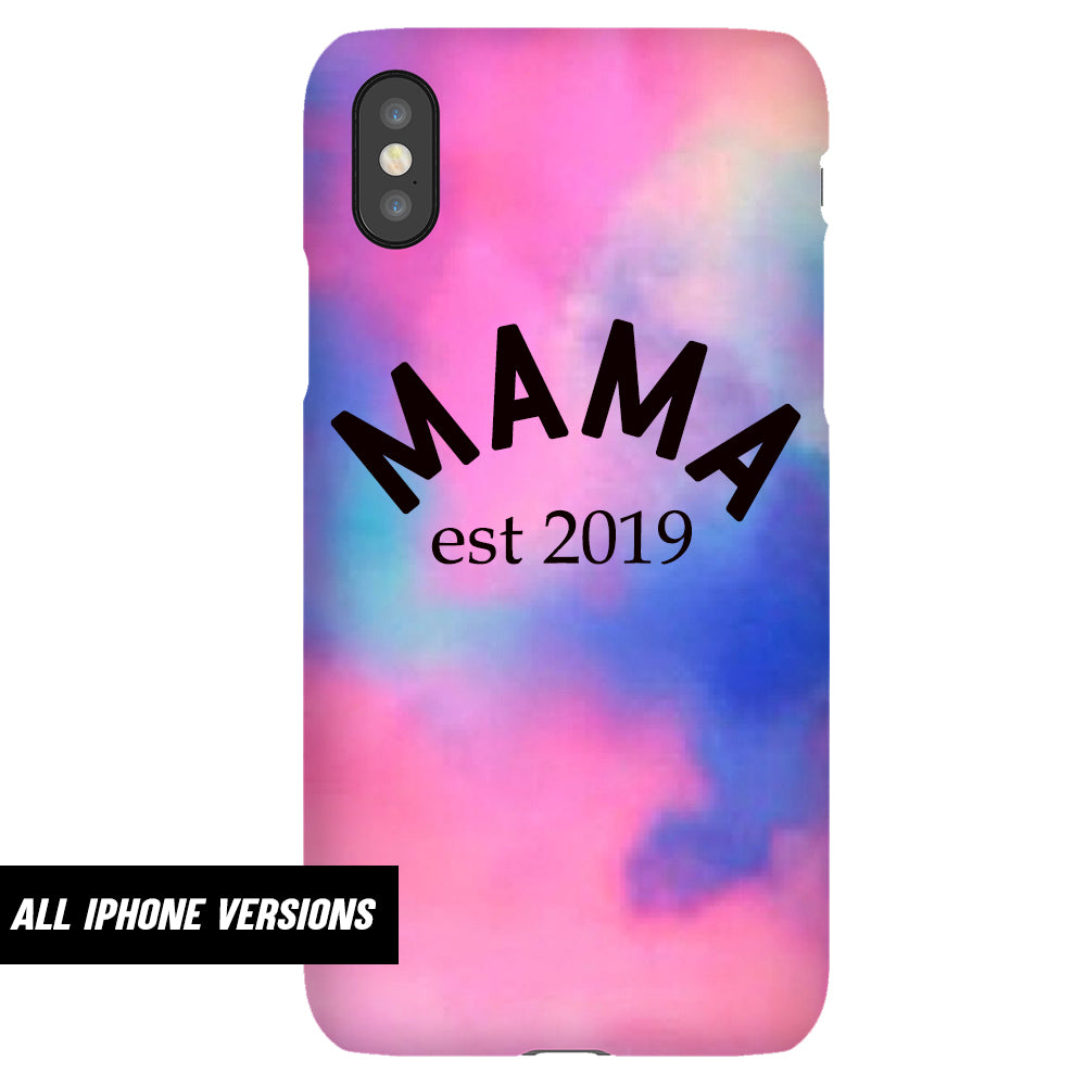 Personalised Mama Established Pink Tie Dye Iphone Snap Phone Case (MRK X)