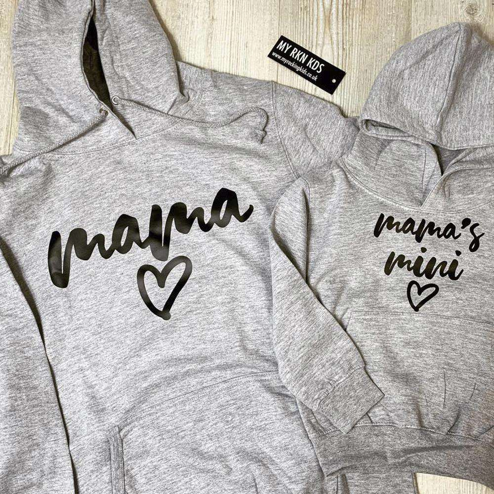 Mama/Mamas Mini Mum & Kid Matching Grey Hoodies (MRK X)