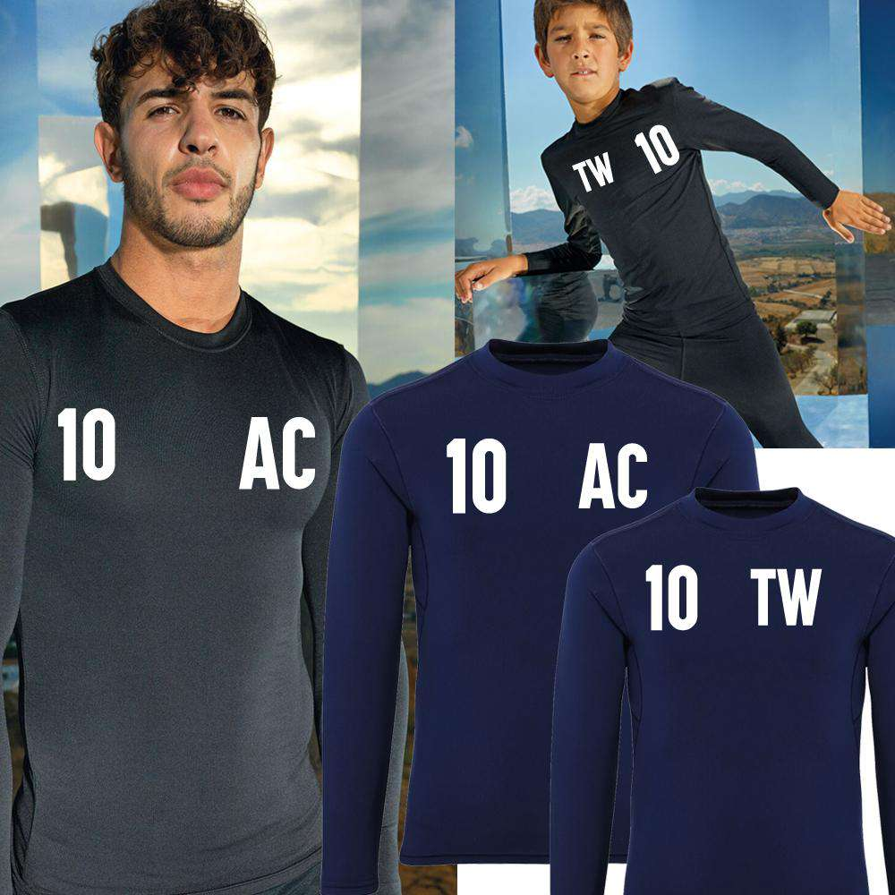 Personalised Adult & Kid Matching Initial & Number Baselayer LS Top (MRK X)