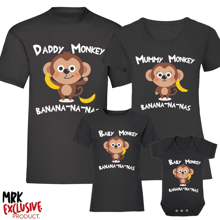 Baby Monkey Song -  Family Matching T-Shirts - Black (MRK X)