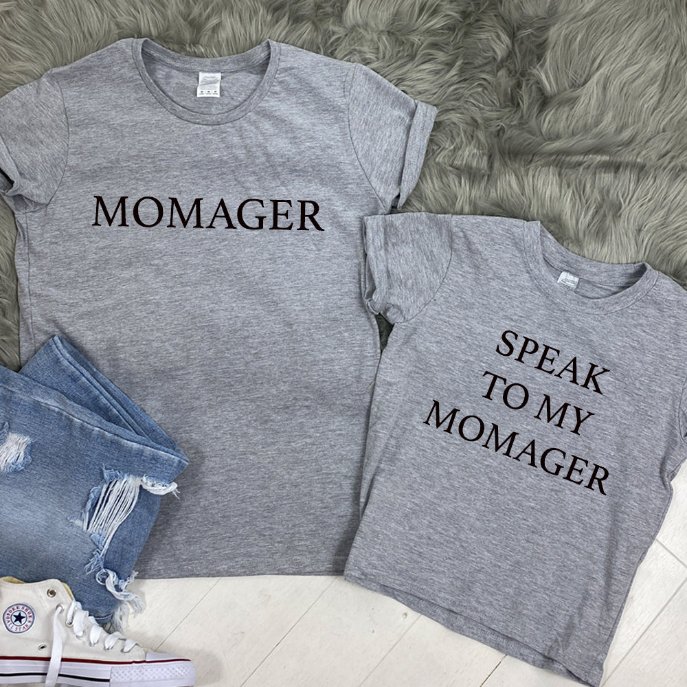 Momager & Talk To Manager Heather Grey Matching Tees (MRK X)
