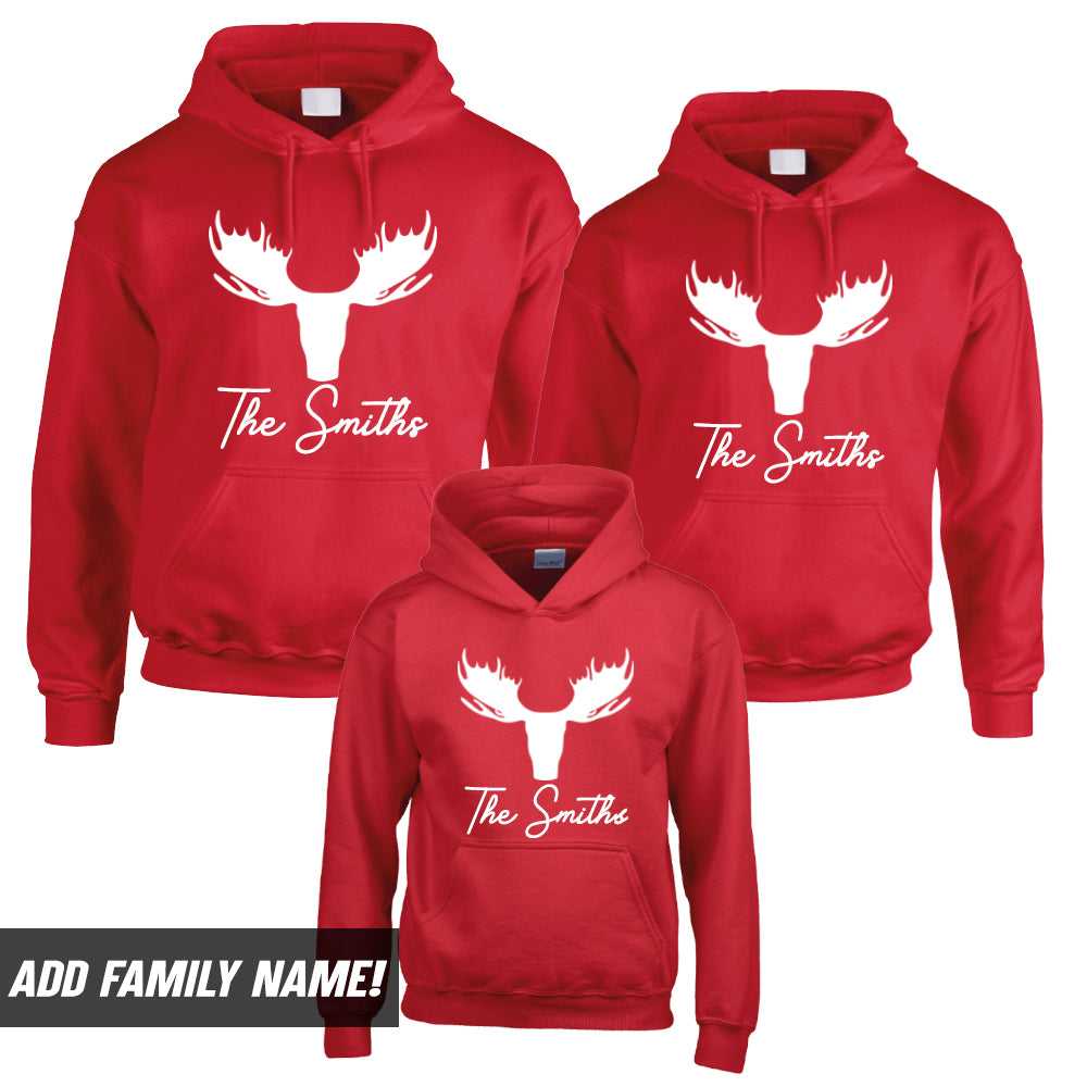 Personalised Moose Family Matching Christmas Hoodies (MRK X)