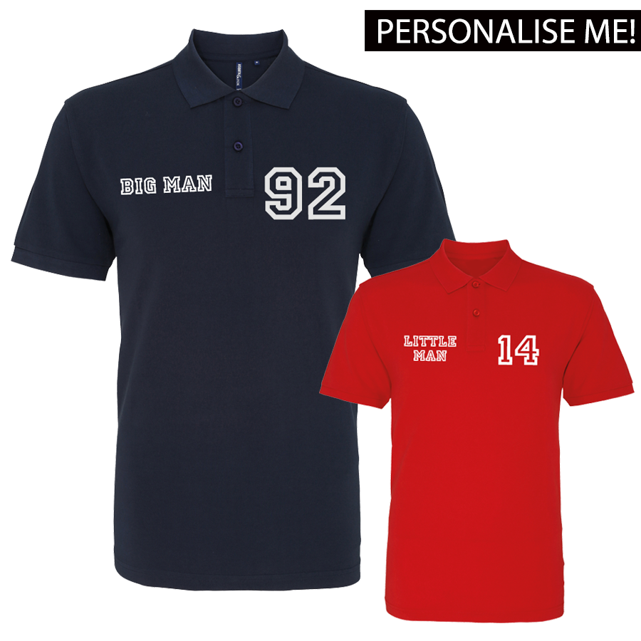 Personalised Big Man Little Man Polo Shirts (MRK X)