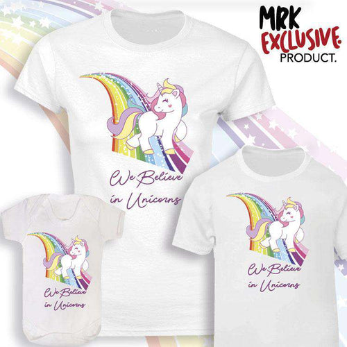 We Believe Unicorn Matching Tee/Bodysuits - White - (MRK X)
