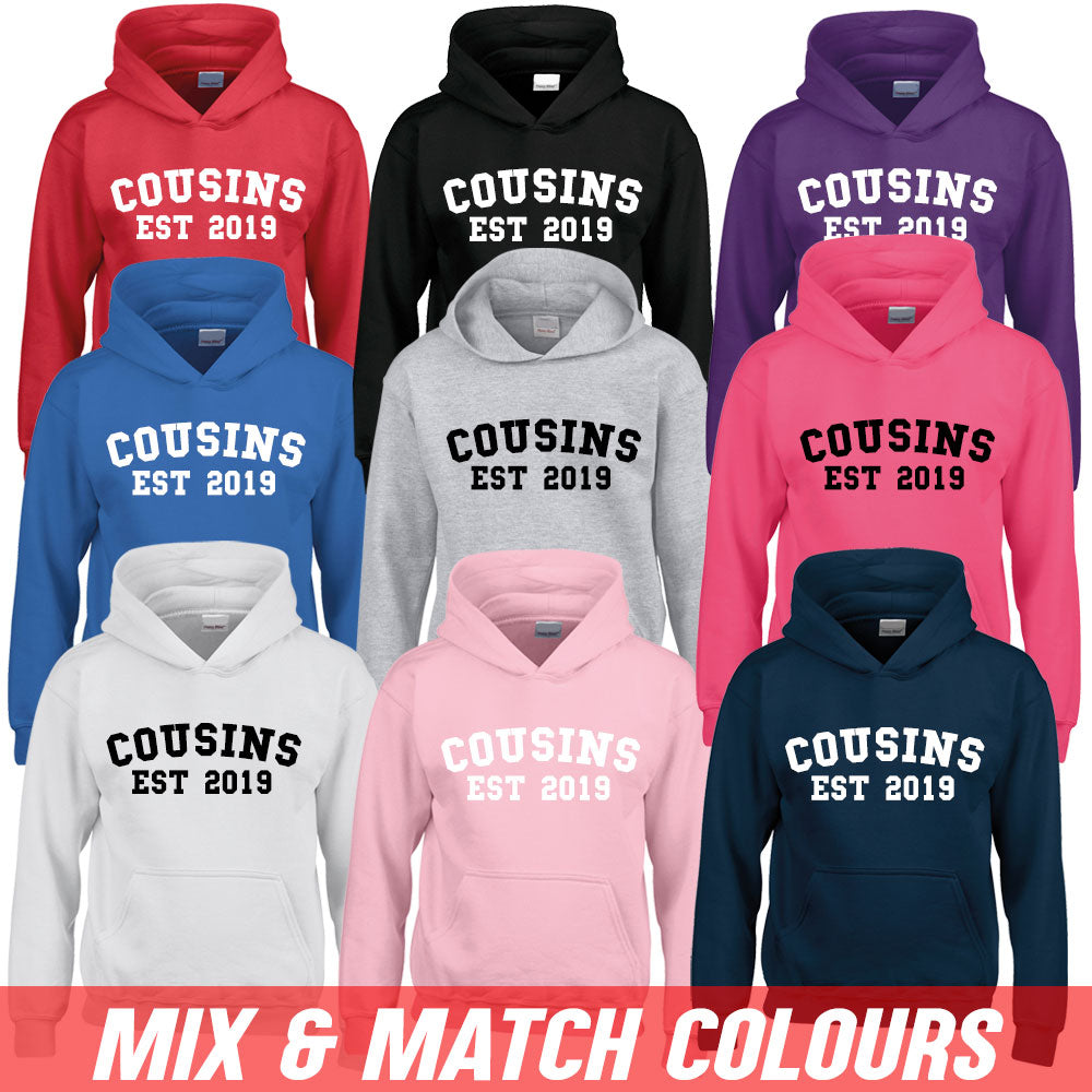 Personalised Cousin Est Varsity Hoodies (MRK X)