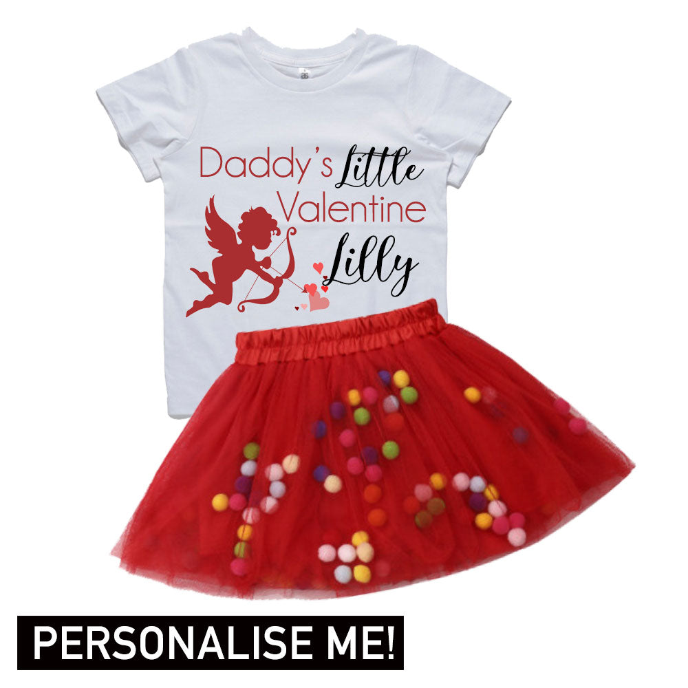 Personalised Daddys Little Valentine Tee & Tutu Dress Set (MRK X)