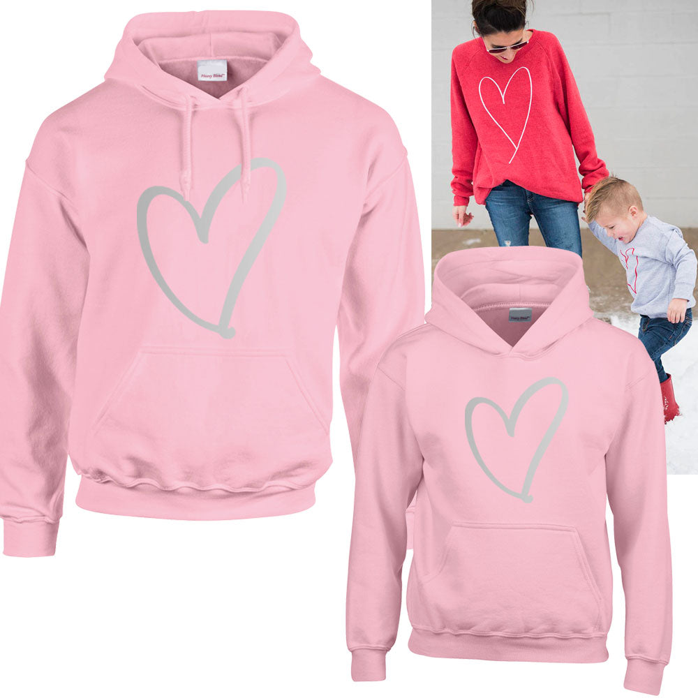 Heart Print Family Matching Hoodies (MRK X)