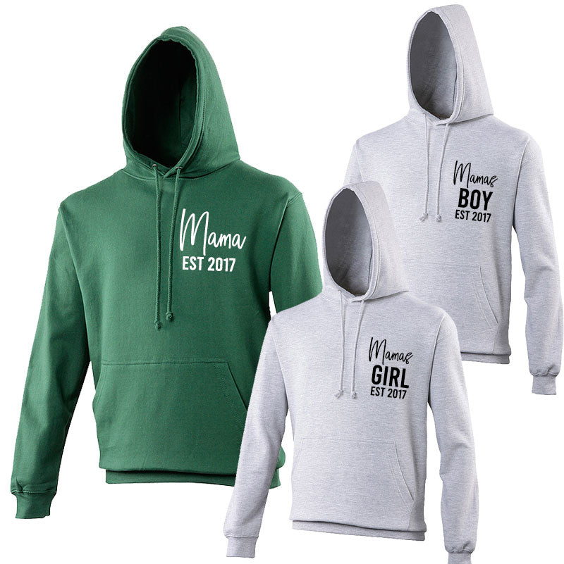 Mama & Mama's Boy & Girl Mum & Hoodie - Bottle Green (MRK X)