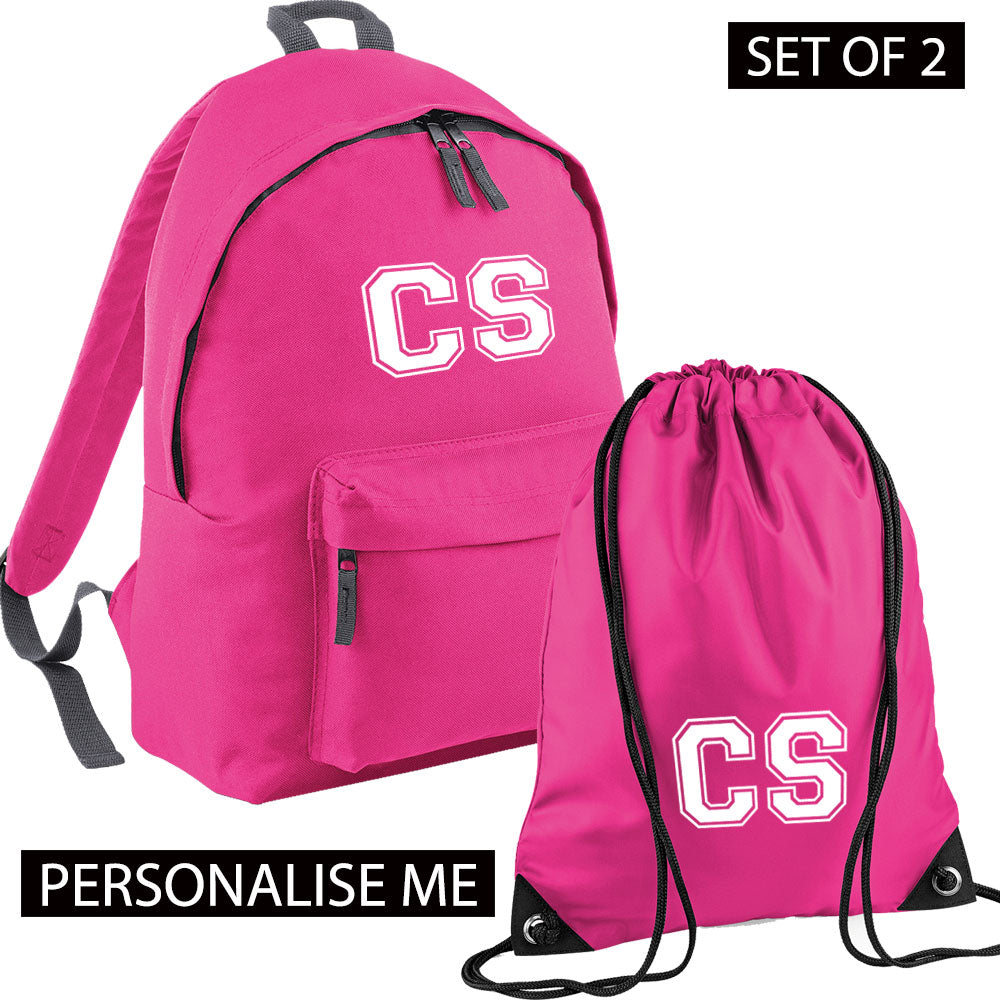 Personalised Initial Varsity Junior Backpack & Gymbag Set (MRK X)