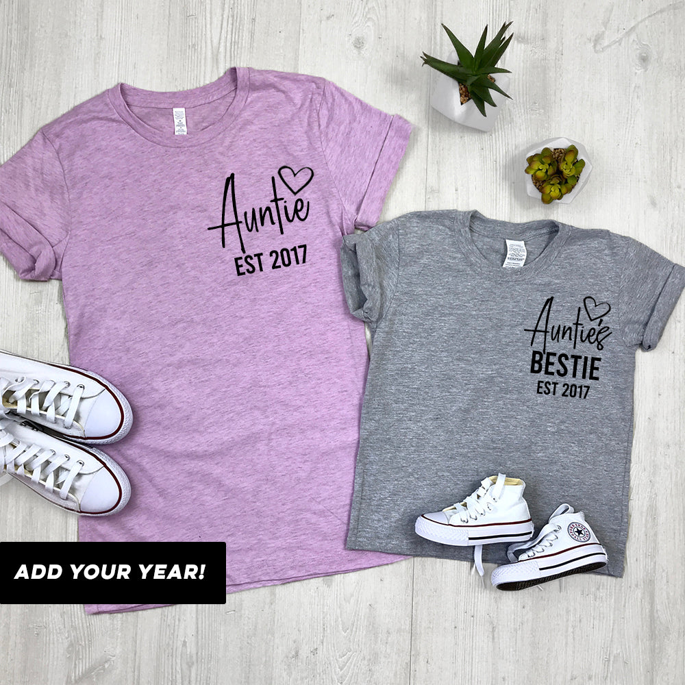 Personalised Auntie and Auntie's Bestie T-Shirts (MRK X)