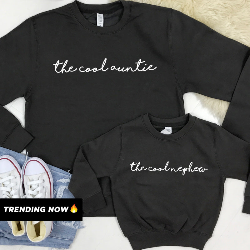 The Cool Auntie/The Cool Nephew Storm Grey Sweatshirts (MRK X)