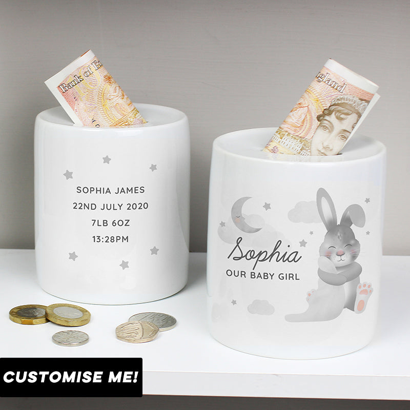 Personalised Bunny Ceramic Money Box (MRK-iD)