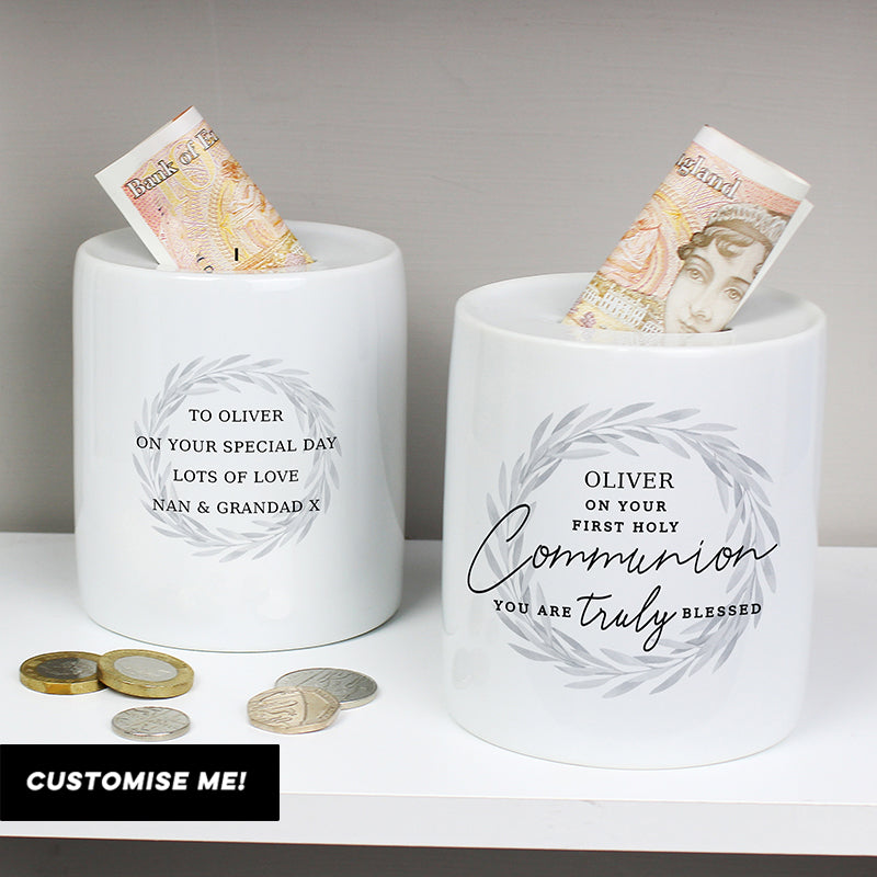 Personalised First Holy Communion Ceramic Money Box (MRK-iD)