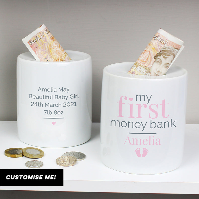 Personalised Pink My First Ceramic Money Box (MRK X)