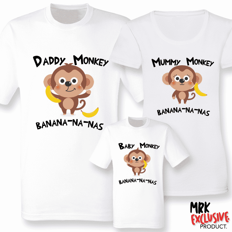 Baby Monkey Song -  Family Matching T-Shirts - White (MRK X)