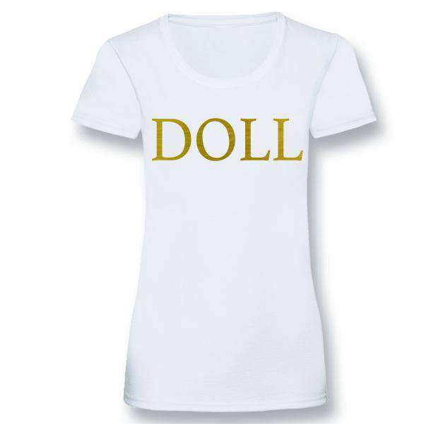 Doll and Dolly Matching Tee/Bodysuits - White/Gold (MRK X)