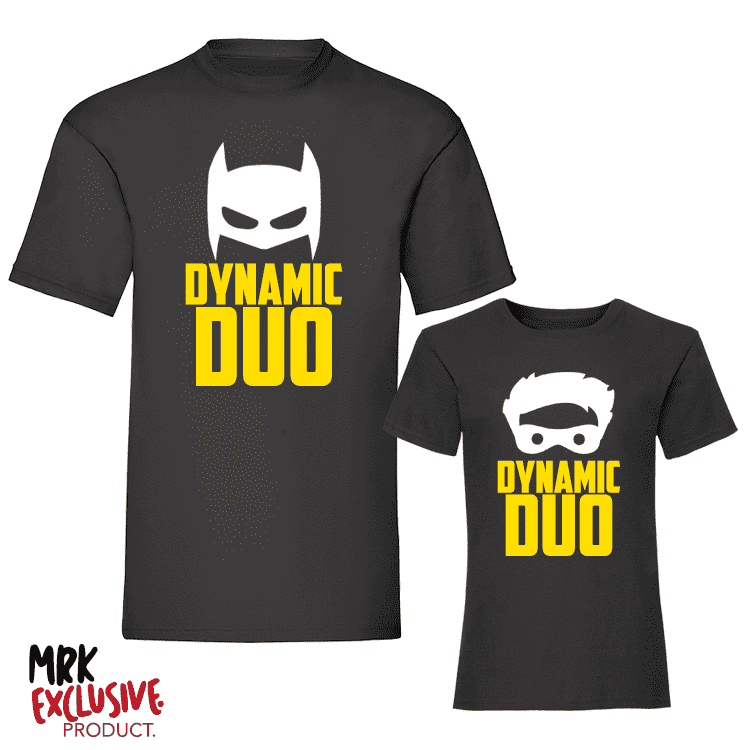 Dynamic Duo Black Matching Adult/Kids Tee's -Black (MRK X)