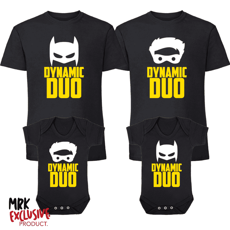 Dynamic Duo Kids Matching T-Shirts/Romper - Black (MRK X)