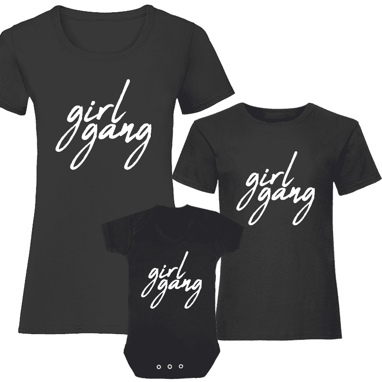 Girl Gang Women & Kids Matching Tee/Bodysuits Black/White (MRK X)